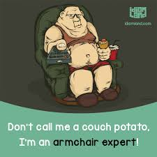 armchair expert don t call me a couch potato i m an armchair expert idiom