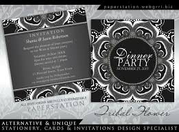 Dinner Party Invitations Black U0026 White Tribal Flower Dinner Party Invitations