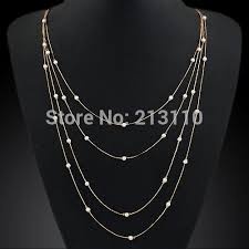 multi layer necklace images Kymyad simulated pearl multi layer necklace gold long chain jpg