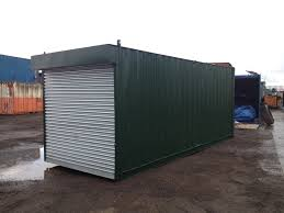 20ft x 8ft green used storage container roller shutter door u2014 www