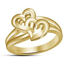 girls rings design images Buy without stone double heart design women 39 s spl ring in gold jpg