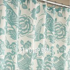 Teal Bird Curtains Green Flower And Birds Patterned Best Unique Shower Curtains