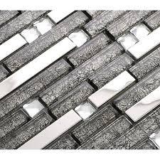 grey glass interlocking mosaic tile silver 304 stainless steel