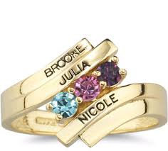 gold mothers rings engraveable gemstone ring in 10k or 14k gold