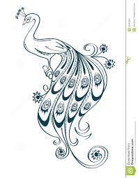 peacock outline sketch