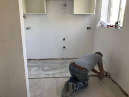 Laying Ikea Laminate Flooring Kallarp Two Tone Kitchen Renovation Metcalfe Makeovers