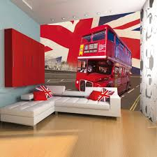 1 wall giant easy hang wallpaper mural london bus union jack 3 15m 1 wall london bus giant wallpaper mural