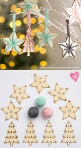 baubles handmade with wool and wood great idea for
