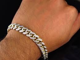 bracelet chain link styles images Mens solid 10k yellow gold miami curb cuban link diamond bracelet jpg