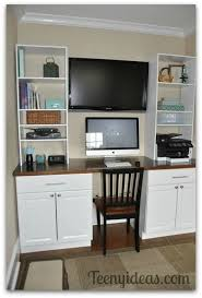kitchen cabinet desk ideas diy built in desk using kitchen cabinets after cutting toe