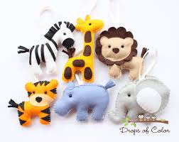 six felt plush jungle theme safari ornaments zebra