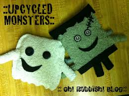 Halloween Craft Idea by Upcycled Towel Monsters Halloween Craft Ideas Recycling