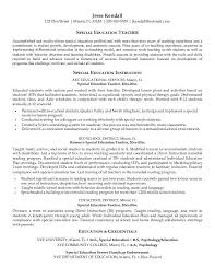 exles for resume special education resume exles school