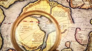 Ancient Map Vintage Magnifying Glass Lies On The Ancient Map Of The North Pole