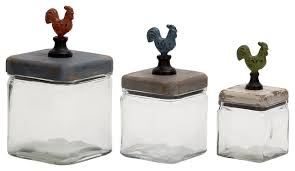 rooster canisters kitchen products wooden 3 glass rooster canisters farmhouse decorative