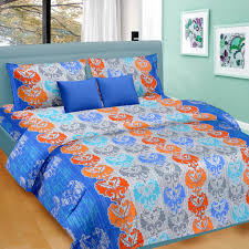Buy Bed Sheets Online U2013 100 Egyptian Cotton Bed Linen Blue U0026 Orange Floral Pattern Double Bed Sheet King Size Double