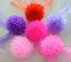 tulle flowers fufison 2pc set tulle pom pomes flower hanging balls wedding