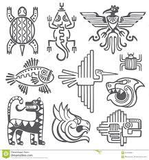 Aztec Mayan Inca Map Historic Aztec Inca Vector Symbols Mayan Temple Pattern Native