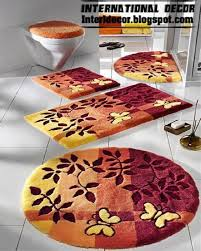 Orange Bathroom Rugs by Bathroom Rugs 5 Piece International Decor Colorful Yellow Orange