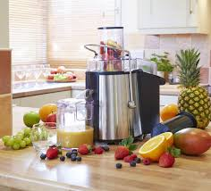 kitchen appliances fruit mixer and blender in stainless steel