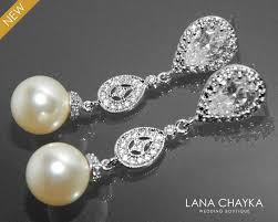 Chandelier Pearl Earrings For Wedding Bridal Pearl Earrings Wedding Chandelier Pearl Cz Earrings