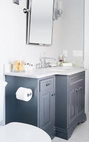 gray chevron mirror in powder room contemporary bathroom