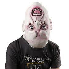 Latex Halloween Costume Upside Head Mask Scary Latex Rubber Face Halloween