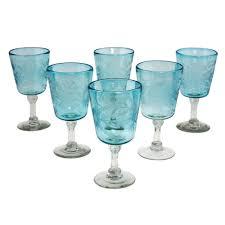 engraved pepita flowers on hand blown wine glasses set of 6