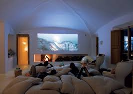 contemporary home theater with vaulted ceiling u0026 high ceiling