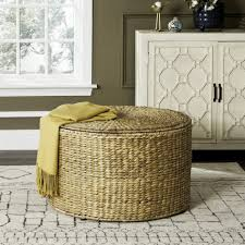 Wicker Storage Ottoman Coffee Table Coffee Table Sea7034a Coffee Tables Storage Furniture By Safavieh