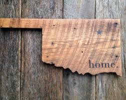 oklahoma wood oklahoma state sign etsy