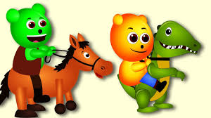 mega gummy bear playing with animals costumes finger family rhyme