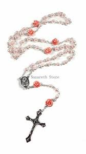catholic rosary necklace pink pearl rosary necklace 6pcs our cross nazareth