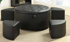 5 piece storage ottoman in black leather like upholstery by