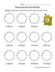 telling time half hour telling time worksheets teaching