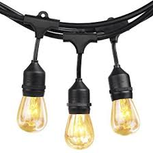 Commercial Grade Patio Light String by Shine Hai 48 Foot With 24 Hanging Sockets Weatherproof Outdoor
