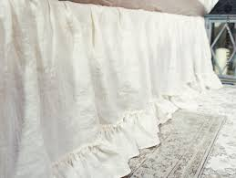 linen bed skirt with ruffles softened linen dust ruffle