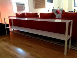 bathroom divine long narrow sofa table tall behind couch glass
