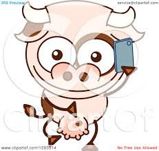 clipart of a cartoon cow talking on a cell phone royalty free