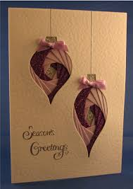 handmade christmas card two baubles with pink and purple iris