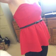 60 off h u0026m tops red strapless peplum top from joie u0027s closet