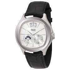 piaget emperador piaget emperador coussin silver black leather automatic men s
