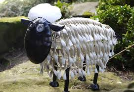 sheep garden ornaments black white standing garden