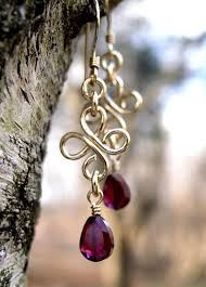 Garnet Chandelier Earrings Handmade 14k Gold Filled Garnet Chandelier Earrings Damali