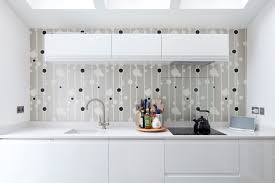 feature wallpaper to modern kitchen home refurbishment