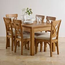 taunton dining set extending table in rustic oak 6 chairs