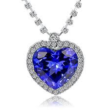 titanic blue necklace images Titanic heart of the ocean necklace blue crystal heart on white jpg