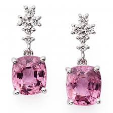 diamonds earrings pink spinel and diamonds earrings