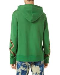 gucci cotton hoodie sweatshirt w appliqué green