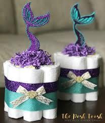 mermaid cake baby shower decor centerpiece present purple